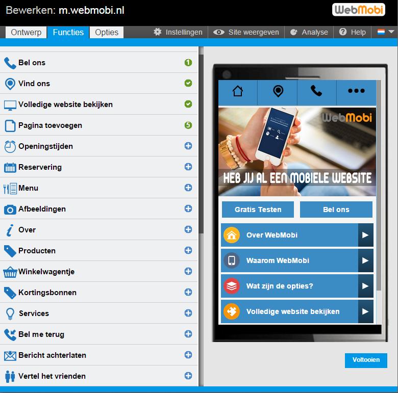 Mobiele website maken of WebApp met WebMobi